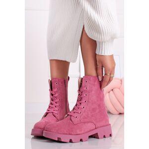 Růžové kotníkové šněrovací boty Giada