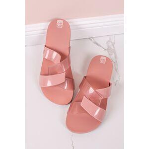 Růžovo-transparentní gumové pantofle Reflex II Slide