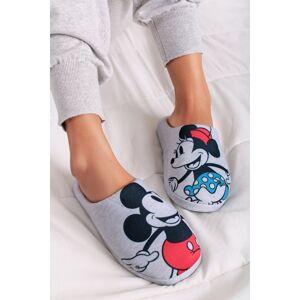 Dámské světle šedé vzorované pantofle Mickey