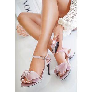 Starorůžové sandály s vyměnitelnými podpatky Velvet D. Powder + tenké podpatky 10 cm