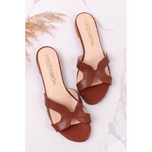 Hnědé kožené nízké pantofle Starito