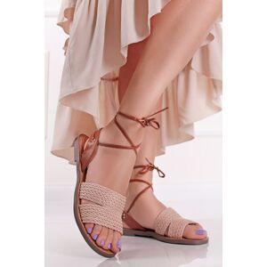 Růžové nízké šněrovací sandály Robena