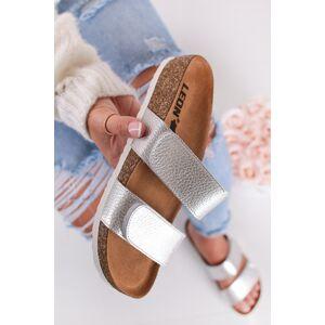 Stříbrné kožené zdravotní pantofle 4000
