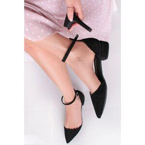 Černé kožené lodičky s vyměnitelnými podpatky Anna Black + tenký podpatek 10cm