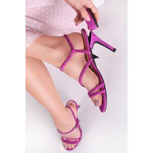 Fialové kožené sandály s vyměnitelnými podpatky Criss Cross Passion + tenký podpatek 10cm
