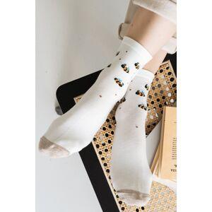 Béžovo-smetanové vzorované ponožky 099