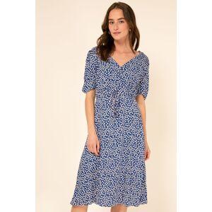 Modré kvetované midi šaty Ournie