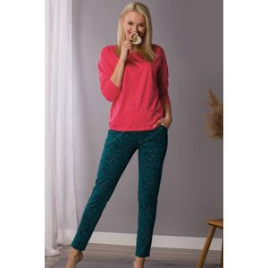 Fuchsiově-zelený dlouhý pyžamový set LNS 708