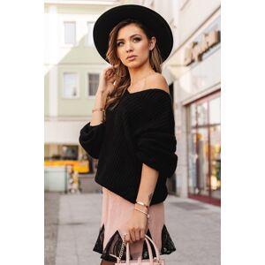 Černý oversize pulovr ELR014