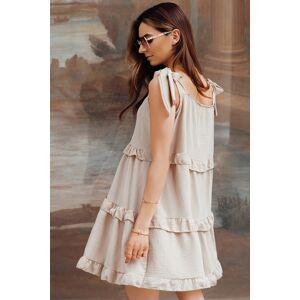 Béžové šaty s vázáním na ramenou DLR015