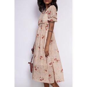 Béžové kvetované midi šaty Lilly