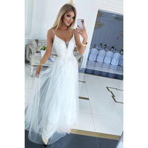 Bílé krajkové dlouhé šaty Bergamo