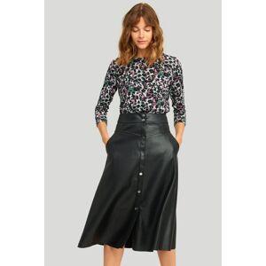 Černá midi sukně z eko kůže 300