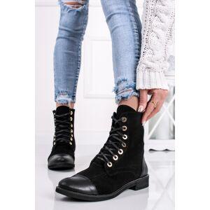 Černé kožené velurové šněrovací boty Valetto