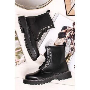 Černé šněrovací kotníkové boty Payton