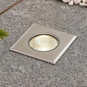 Lucande LED nerezové zemní zápustné svítidlo Sulea hranaté